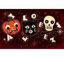 Halloween pumpkin cat skull vintage Photographic Print