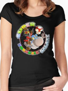 Super Jurassic Galaxy Gaming Adventure Mashup Women's Fitted Scoop T-Shirt
