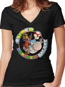 Super Jurassic Galaxy Gaming Adventure Mashup Women's Fitted V-Neck T-Shirt