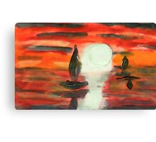Red sunset, watercolor Canvas Print