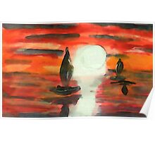 Red sunset, watercolor Poster