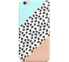 Mint & Orange Color Blocks & Black Brushstrokes iPhone Case/Skin