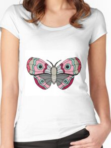 Blue Eyed Pink Moth Women's Fitted Scoop T-Shirt