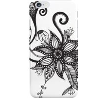 Simple Black & White Tangle Flowers iPhone Case/Skin
