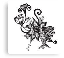 Simple Black & White Tangle Flowers Canvas Print