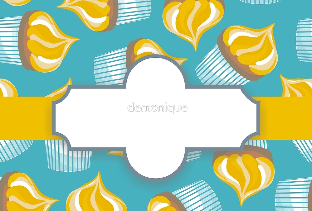 cupcakes on turquoise with a label by demonique