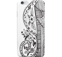Trendy black white hand drawn aztec floral  iPhone Case/Skin