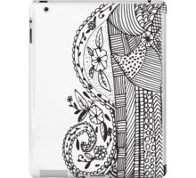 Trendy black white hand drawn aztec floral  iPad Case/Skin
