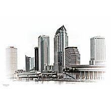 23 Exposure High Key HDR of Tampa Skyline Photographic Print