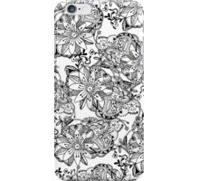 Modern black white hand drawn tangle flowers iPhone Case/Skin