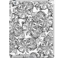 Modern black white hand drawn tangle flowers iPad Case/Skin