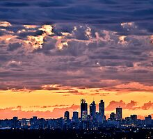 Sunset Over Perth City by Leah Kennedy