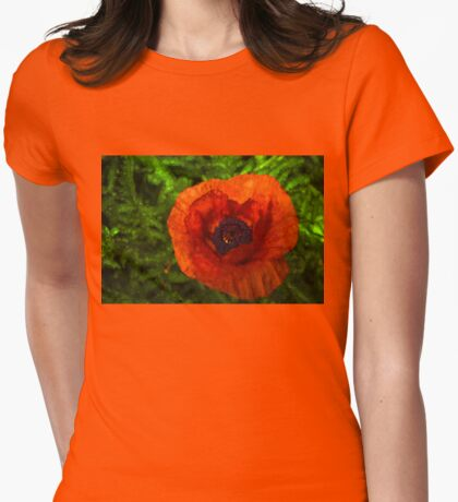 Red Poppy - Vibrant, Bold and Cheerful Womens Fitted T-Shirt