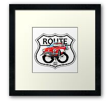 Vintage Route 66 US historic gifts red, white, black Framed Print