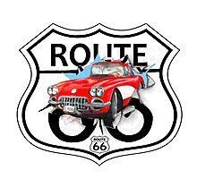Vintage Route 66 US historic gifts red, white, black Photographic Print