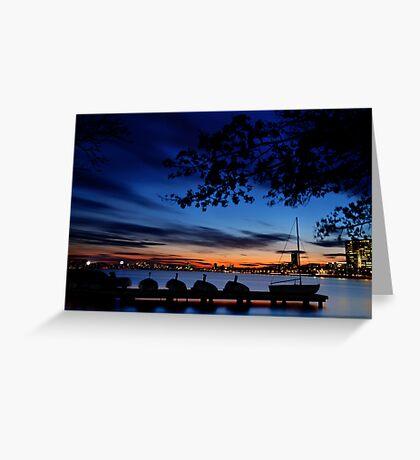 Esplanade sail, sun and baseball Greeting Card