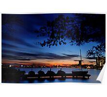 Esplanade sail, sun and baseball Poster