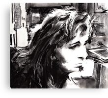 Julie in Charcoal Canvas Print