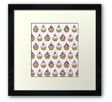 Cute Pink & White Floral Cupcake with Cherry on Top Framed Print
