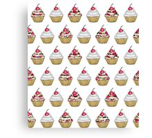 Cute Pink & White Floral Cupcake with Cherry on Top Canvas Print