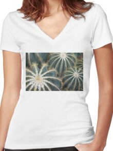 Sharp Beauty - Elegantly Ordered Cactus Needles Women's Fitted V-Neck T-Shirt