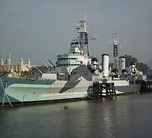 HMS Belfast C35 by mike  jordan.