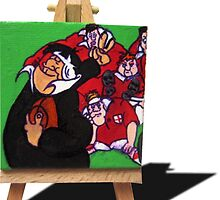 RWC NZ vs England 2 finger Salute by Kiwiana Art Mandii Pope