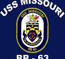 USS Missouri (BB-63) Crest for Dark Colors by Spacestuffplus