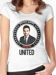 Oliver Queen for mayor Women's Fitted Scoop T-Shirt