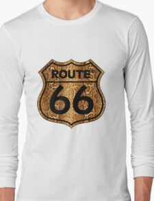 Vintage Route 66 US sign in snakeskin Long Sleeve T-Shirt
