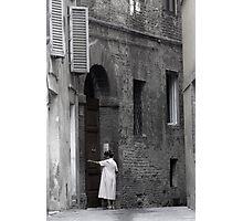 Women in Siena Doorway Photographic Print