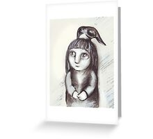 """""""Little girl and crow"""" Greeting Card"""