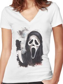 Do you like scary movies? Women's Fitted V-Neck T-Shirt