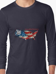 Elegant country Flat USA  route 66  Long Sleeve T-Shirt
