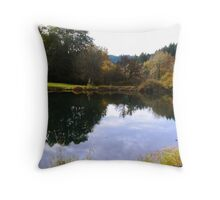 little fishing pond Throw Pillow