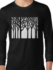 Black And White Forest Long Sleeve T-Shirt