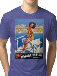 Vintage Marina di Massa Italian travel advertising Tri-blend T-Shirt