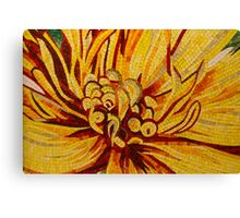 Sparkling, Intricate Golds and Yellows - a Floral Ceramic Tile Mosaic Canvas Print