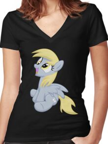 Just Derpy Women's Fitted V-Neck T-Shirt