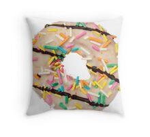 Donut with sprinkles food porn Throw Pillow