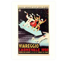 Vintage Viareggio carnival Italian travel ad  Art Print