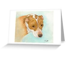 Red Nosed Pit Bull Dog Cathy Peek Animal Art Greeting Card