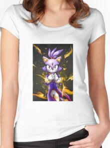 Blaze the Cat: Fire Within Me Women's Fitted Scoop T-Shirt