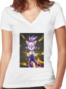 Blaze the Cat: Fire Within Me Women's Fitted V-Neck T-Shirt