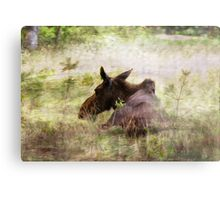 Painted Moose Metal Print