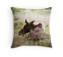 Painted Moose Throw Pillow