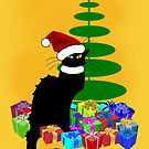 Christmas Le Chat Noir With Santa Hat by Gravityx9