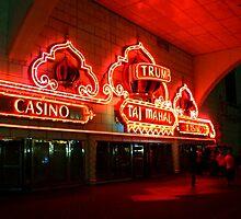 The Red Neon Glow of the Trump Taj Mahal by Jane Neill-Hancock