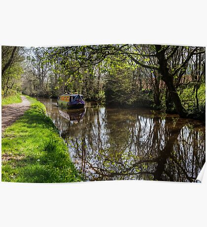 Canal Barge and Reflections Poster