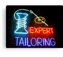 Expert Tailor Neon Sign Canvas Print
